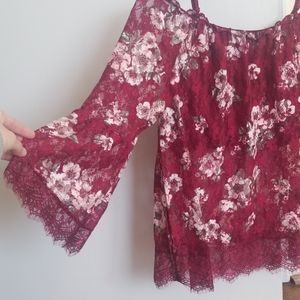 Lace semi sheer crop lining floral top wine color